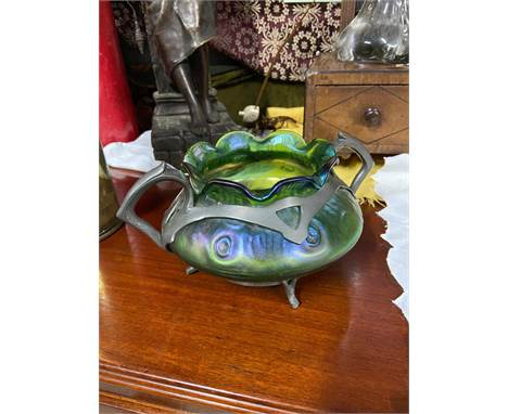An Art Nouveau Loetz Iridescent art glass and pewter two handle bowl. [
