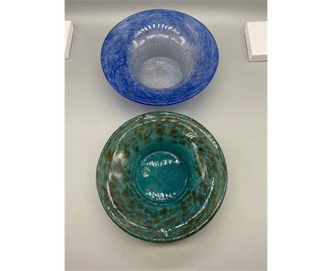 A Scottish Vasart art glass small bowl together with a Scottish green and black speckle small bowl.
