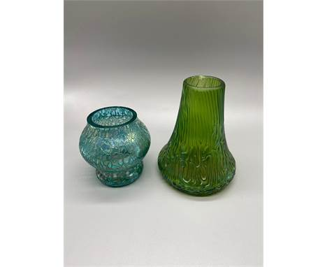 Two various vintage Loetz art glass vases. [One as found]