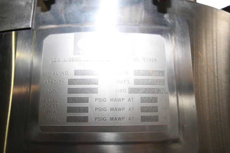 Lot 14 - Walker 50 Gal. S/S Jacketed Tank, 304 S/S, M/N PZ, S/N 8579, 15 PSIG @ 250 F (LOCATED IN FT.