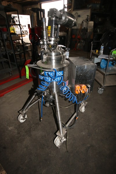 Lot 11 - 2011 T&C S/S 20 Liter S/S Reactor Tank, M/N TAG VE-R15, S/N TC7284, Mounted on S/S Portable Frame,