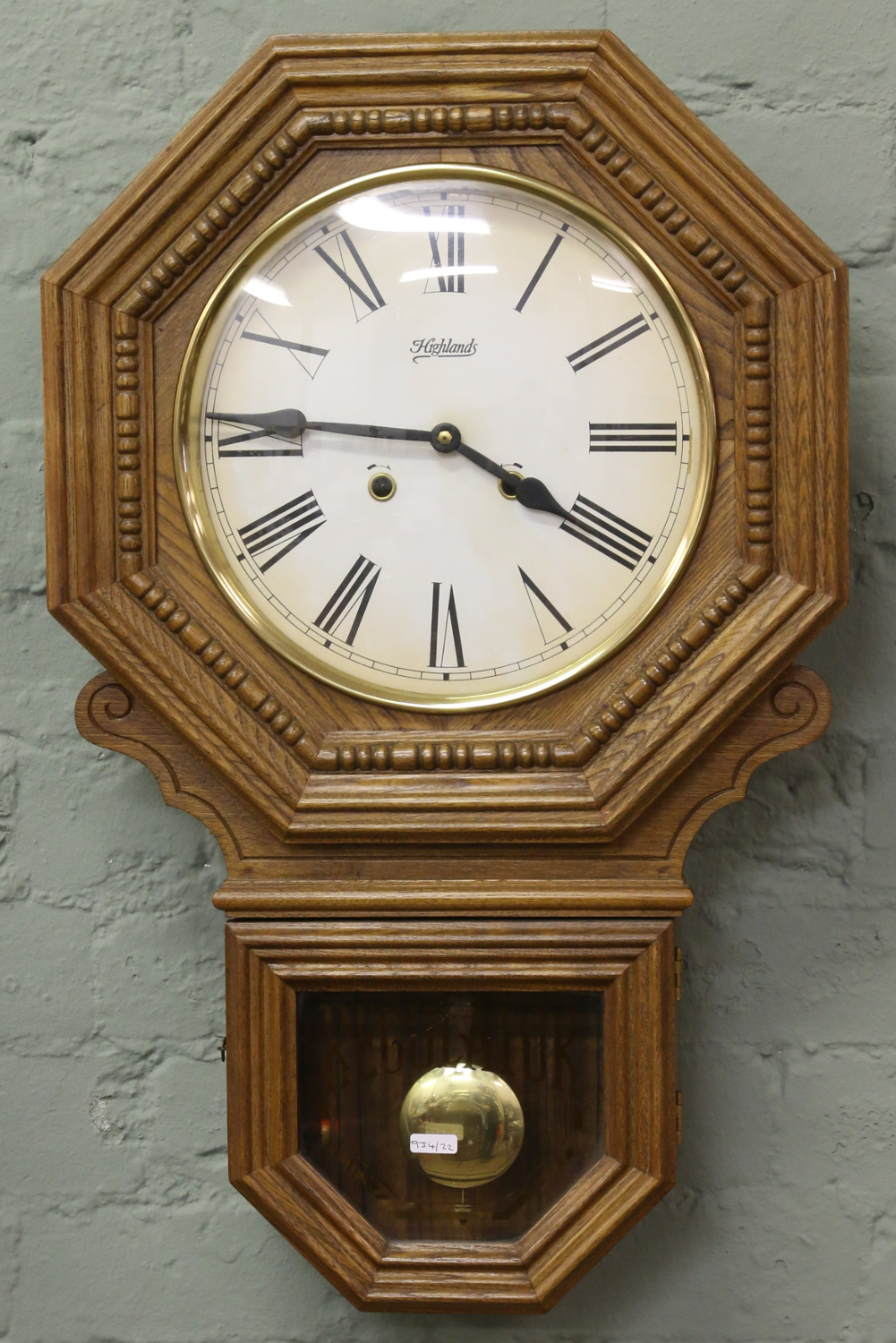 A modern oak cased highlands regulator wall clock lot 194 a modern oak cased highlands regulator wall clock amipublicfo Image collections