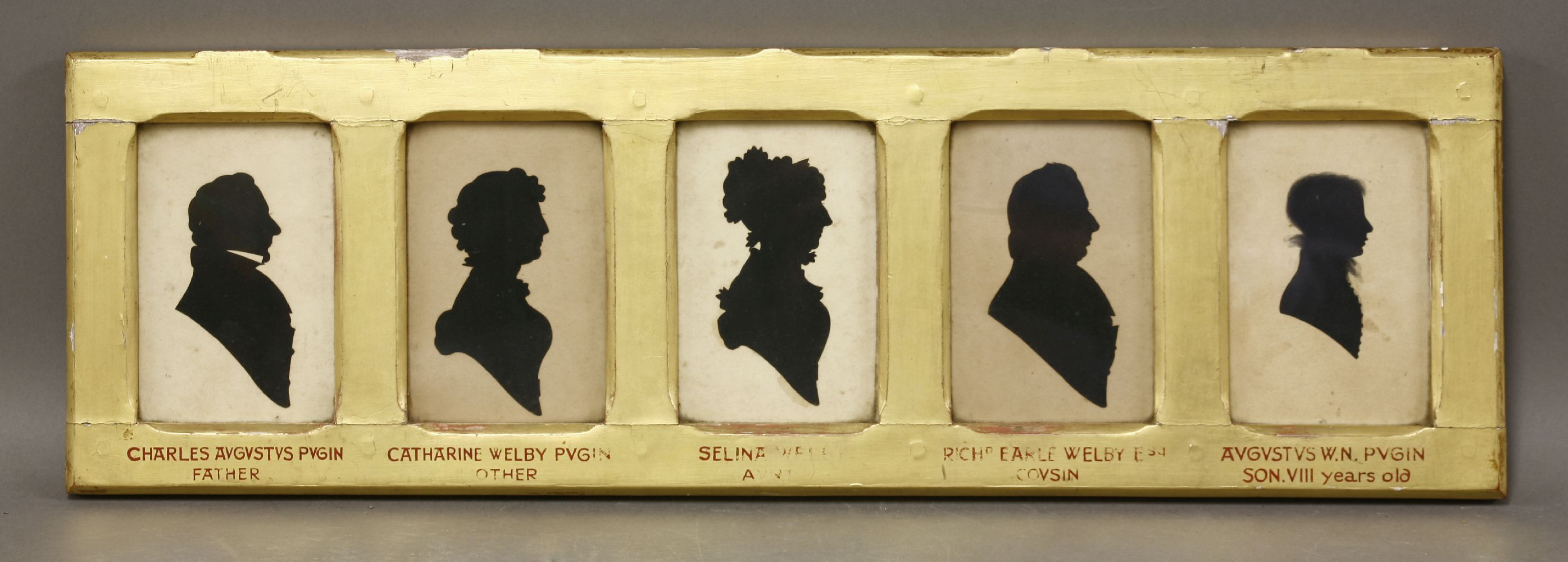 Five Silhouettes Charles Augustus Pugin Father Catherine Welby  # Augustus Pugin Muebles