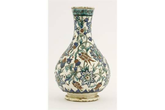 An Iznik Bottle Vase18th Century Decorated Overall With