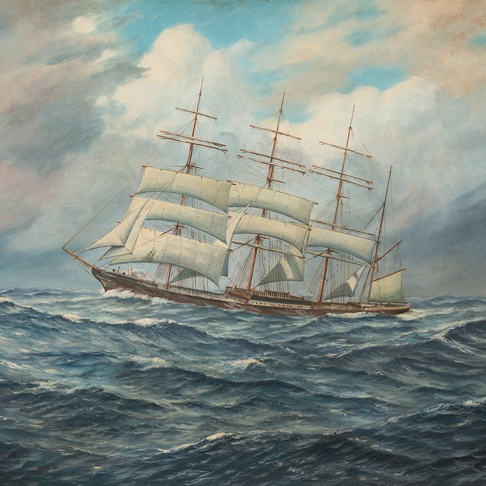 Lot 24 - Johannes Holst (1880-1965), Tall Ship, Oil on Canvas, 1945 Oil on canvas,Germany, 1945Johannes Holst