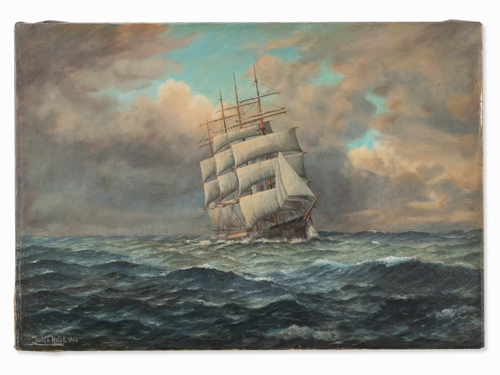 Lot 23 - Johannes Holst (1880-1965), Four-Master on Open Sea, Oil, 1942 Oil on canvasGermany, 1942John