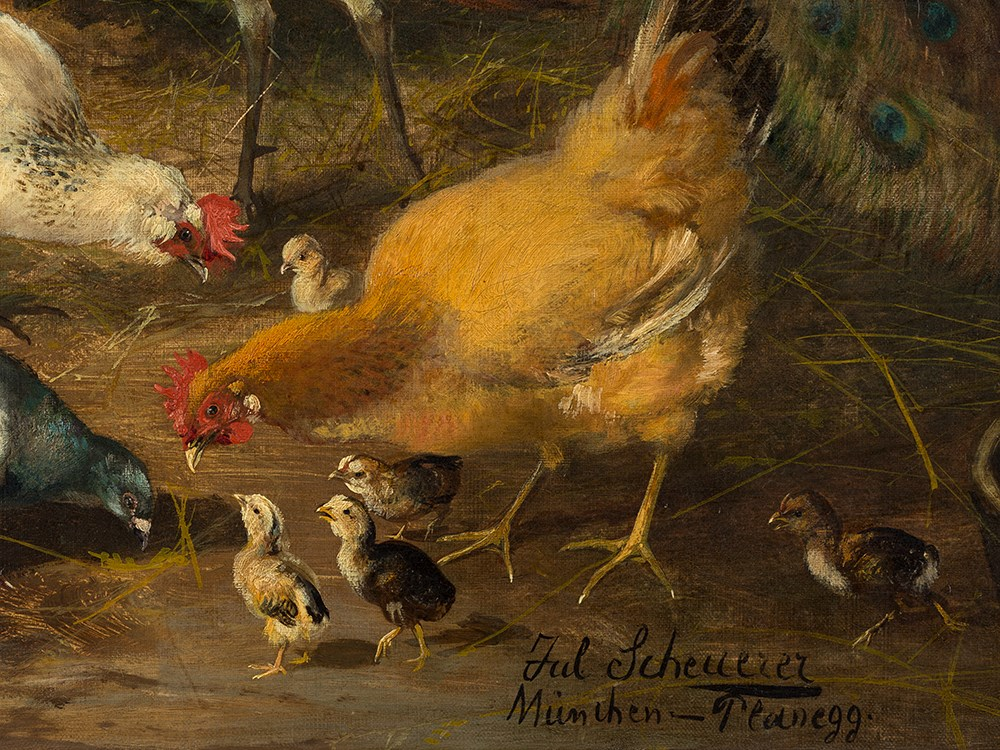 Lot 131 - Julius Scheuerer (1859-1913), Birdyard, Painting, Early 20th C.Oil on canvasGermany, early 20th