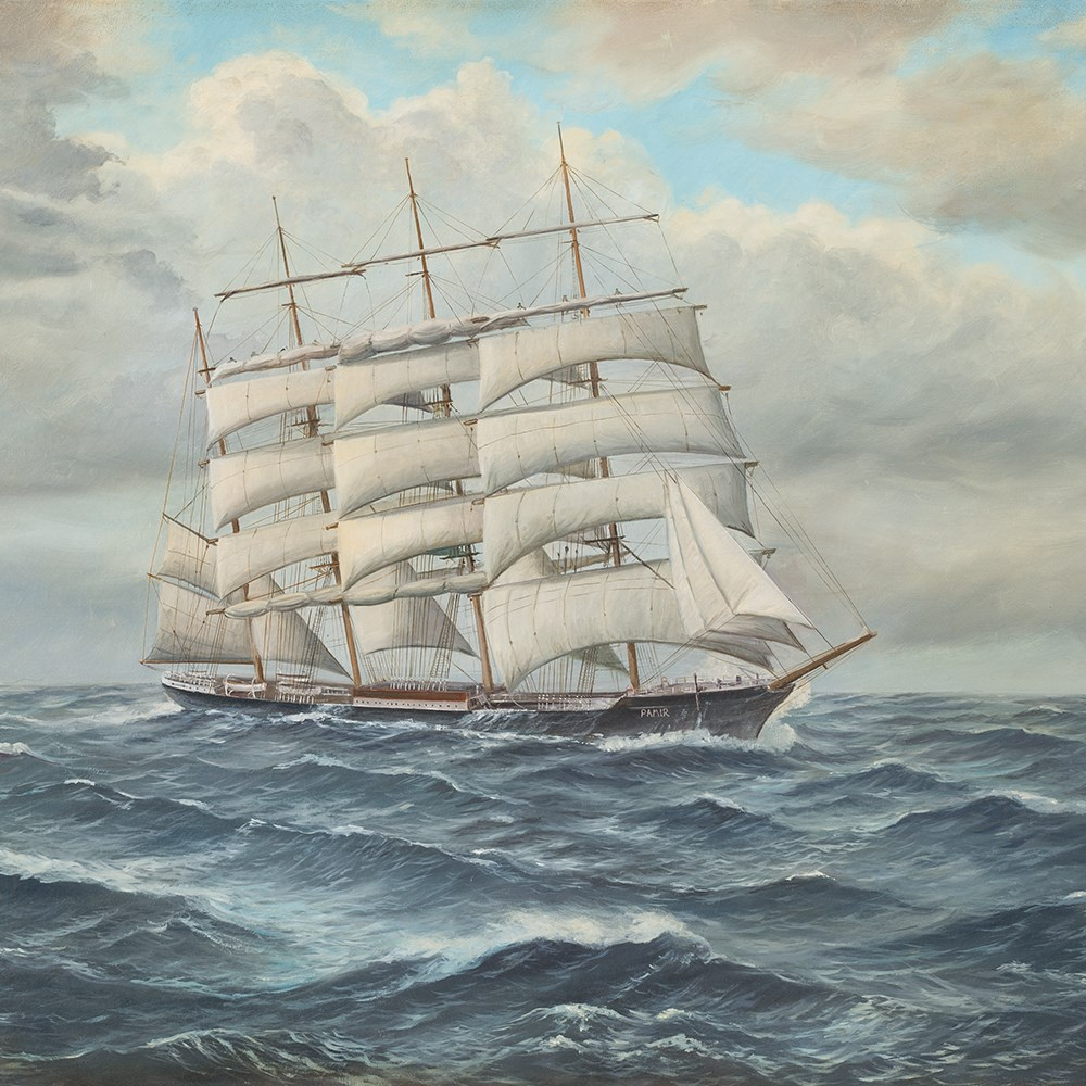 Lot 22 - Johannes Holst (1880-1965), The Pamir on Open Sea, Oil, 1955 Oil on canvasGermany, 1955John Holst (