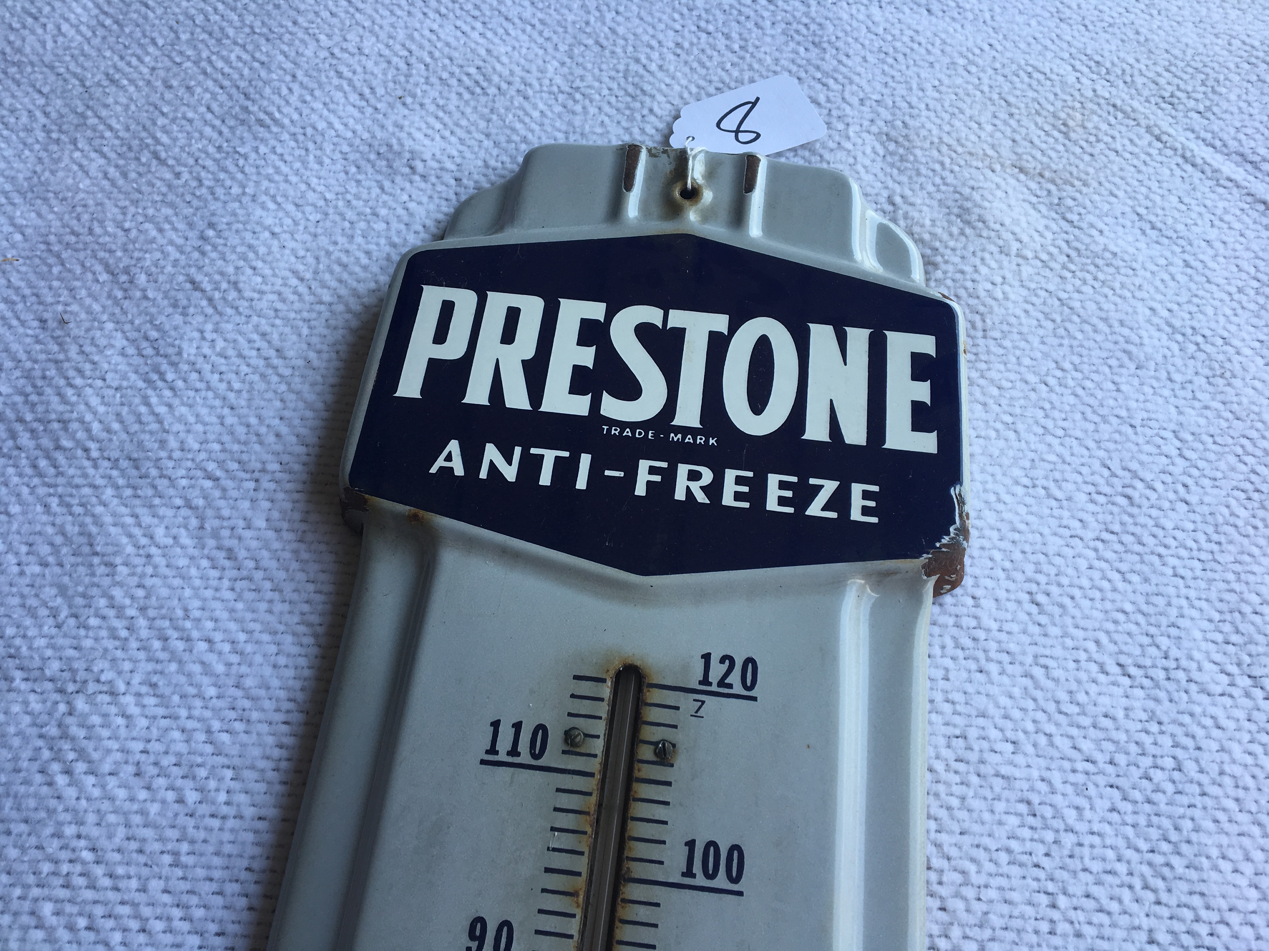 "Lot 8 - Prestone Anti-Freeze Porcelain Thermometer – 36"" Tall"