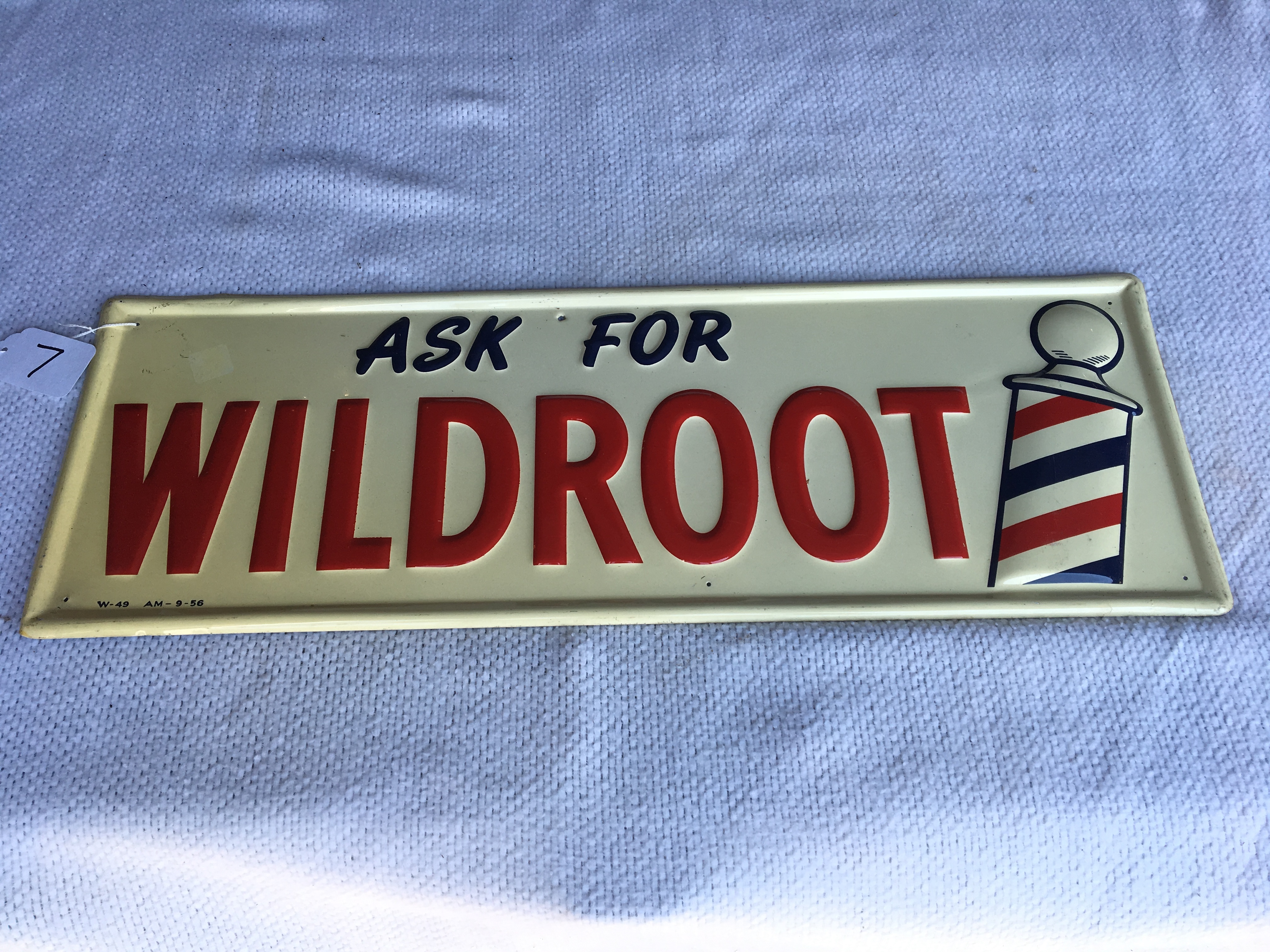 """Lot 7 - Ask for Wildroot Metal Sign, 9 ¾"""" x 27 ¾"""", (W-49) (AM-9-56)"""