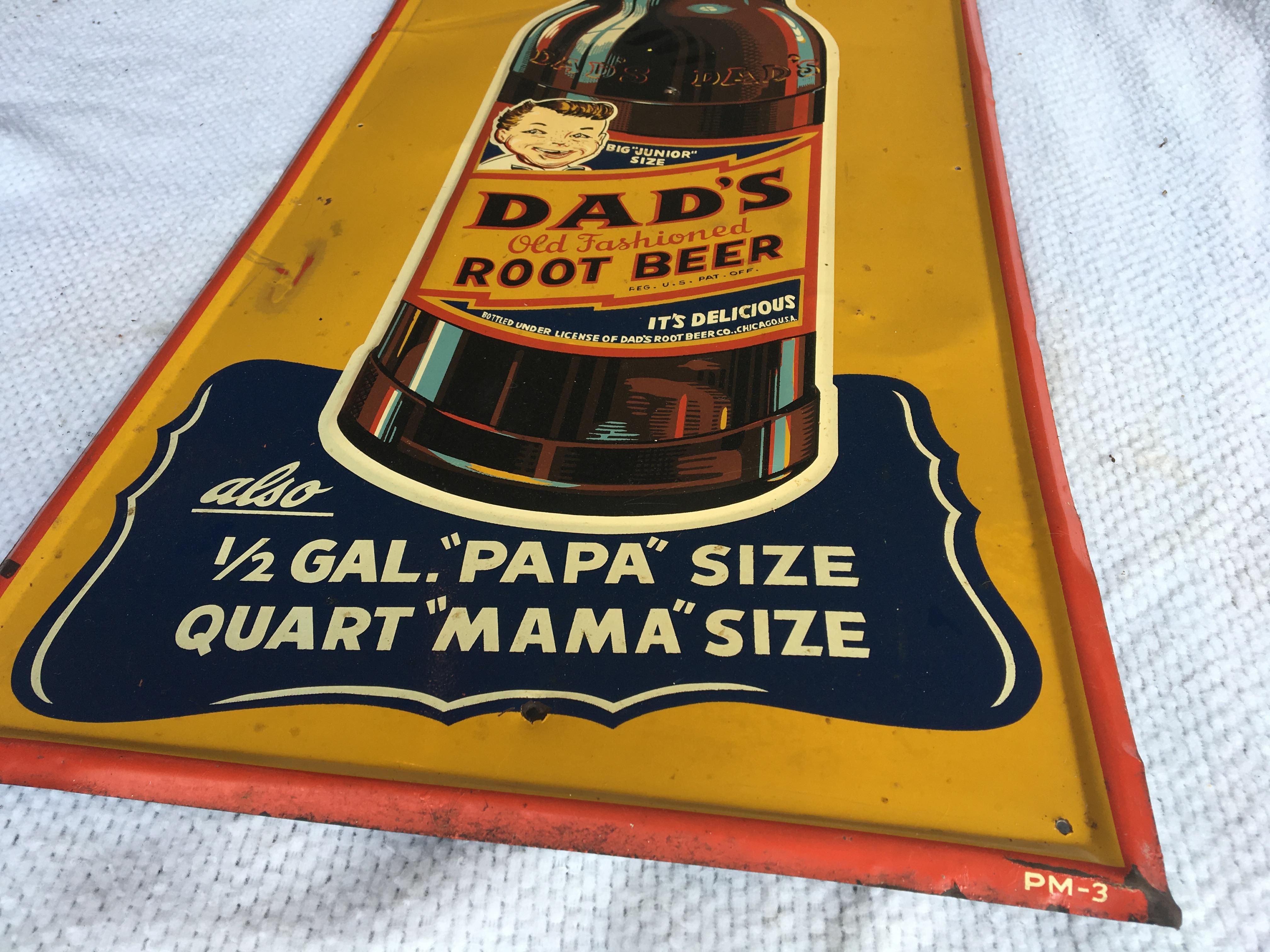 "Lot 20 - Dad's Root Beer Metal Sign, 13 ½"" x 29"" (PM-3)"