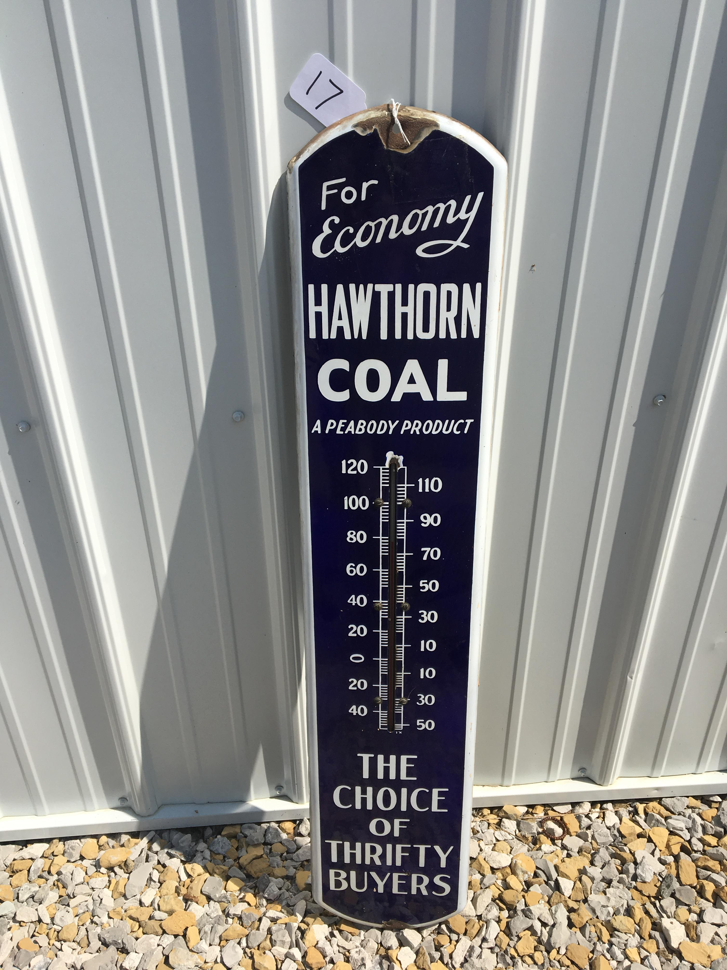 """Lot 17 - Hawthorne Coal, 8""""x38 ½"""", Porcelain Thermometer"""