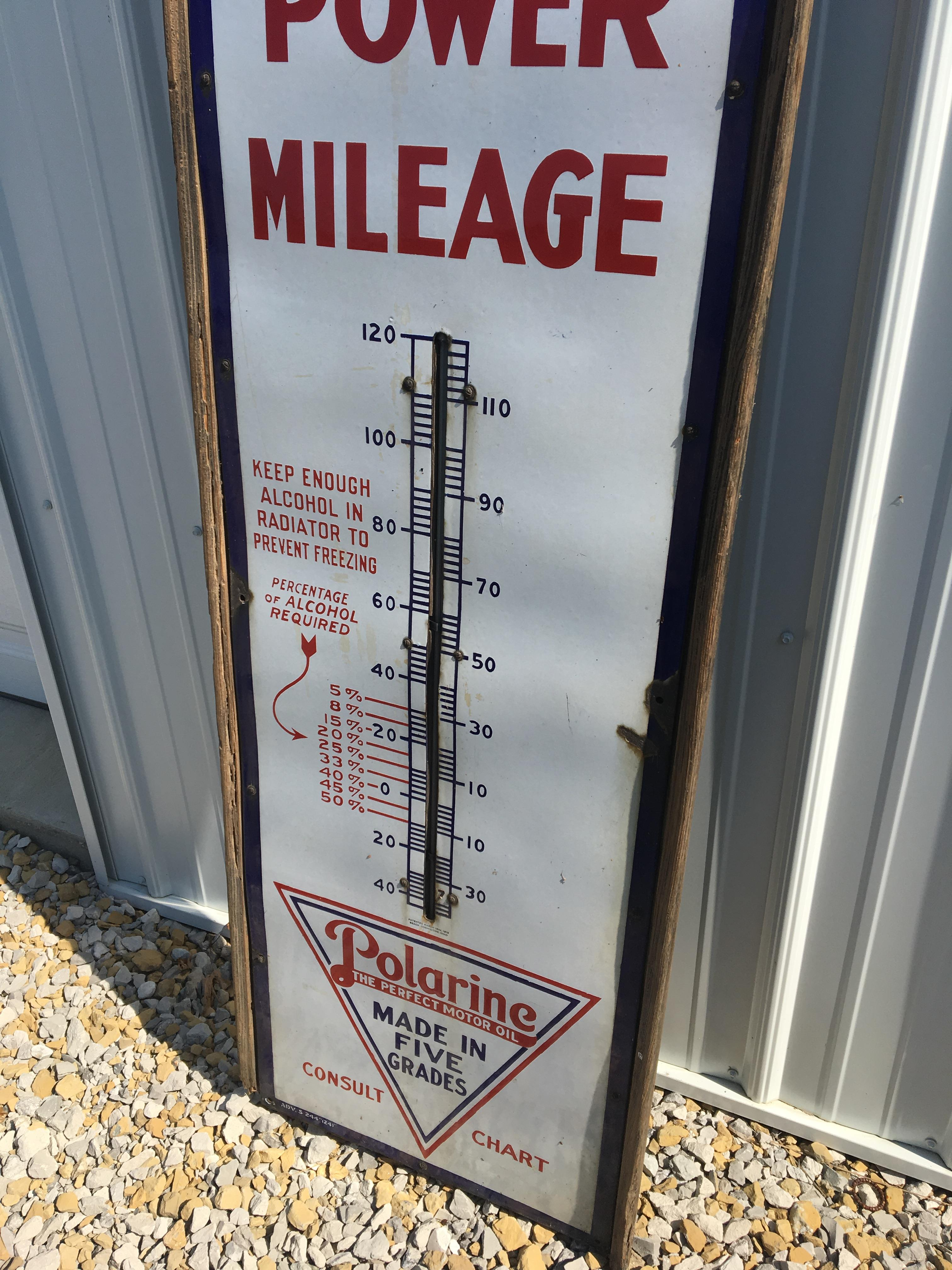 """Lot 4 - Red Crown Gasoline Thermometer Sign – 17 ¾"""" x 6'"""