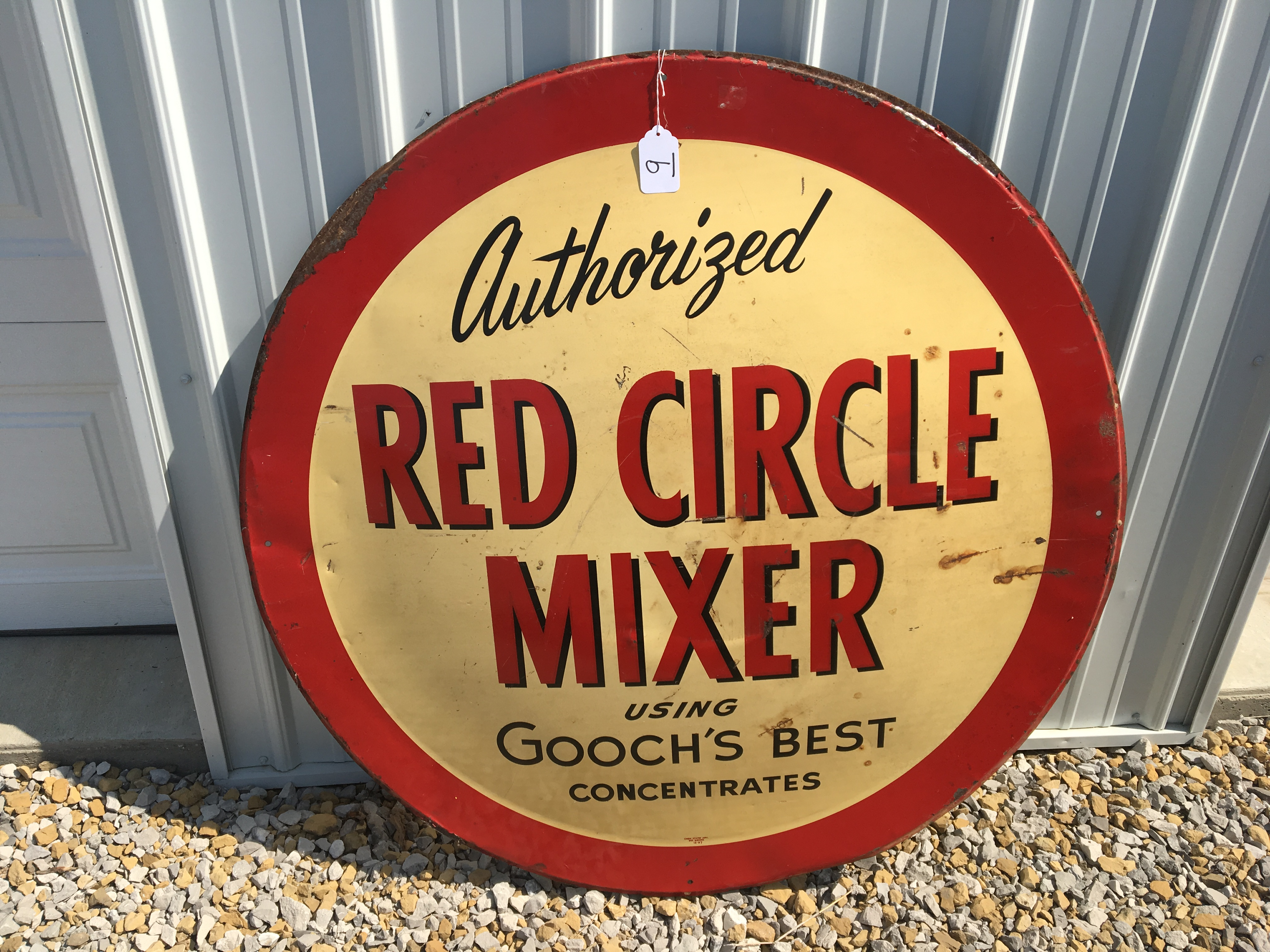 """Lot 9 - Red Circle Mixer, Gooch's Best, 42"""" Metal Sign, Corn States Advertisement – Des Moines (12-57)"""