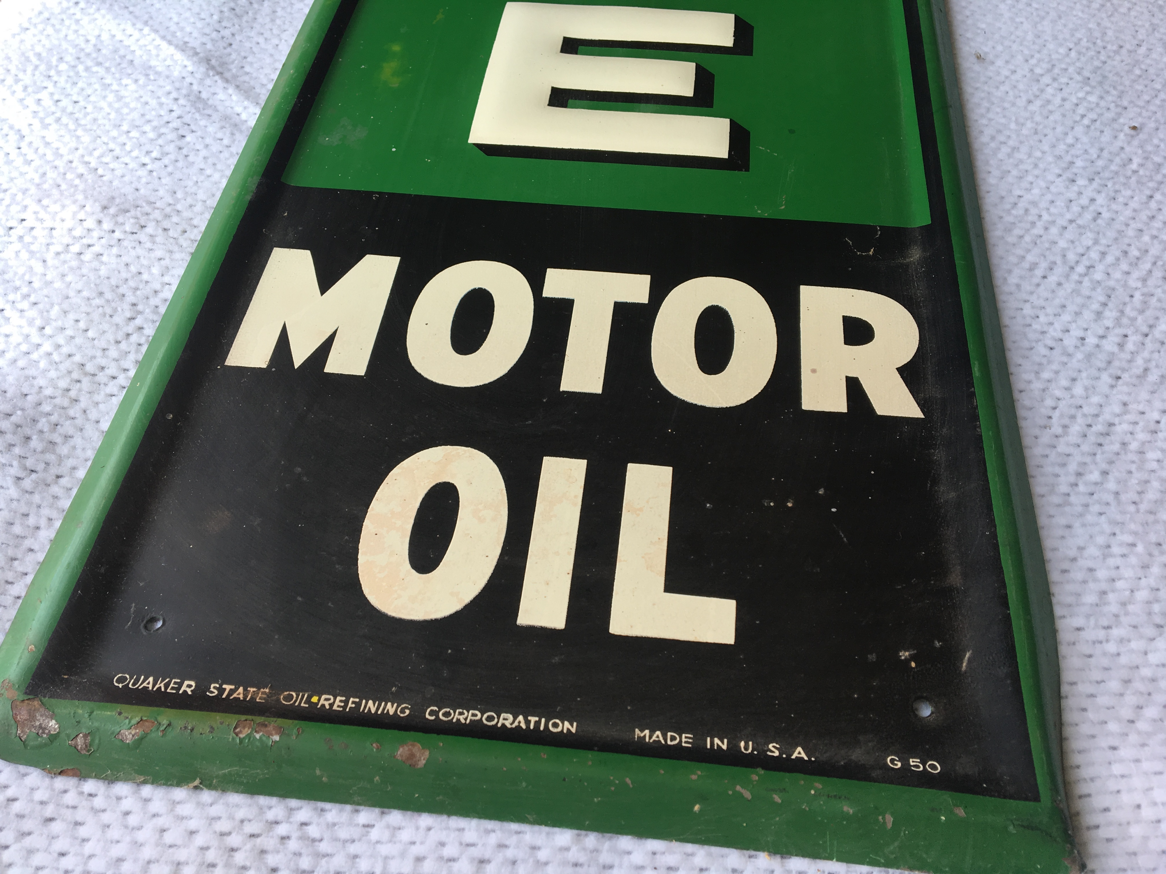 """Lot 12 - Quakes State Motor Oil,11 ¾"""" x 71 ¾"""", (G-50)"""