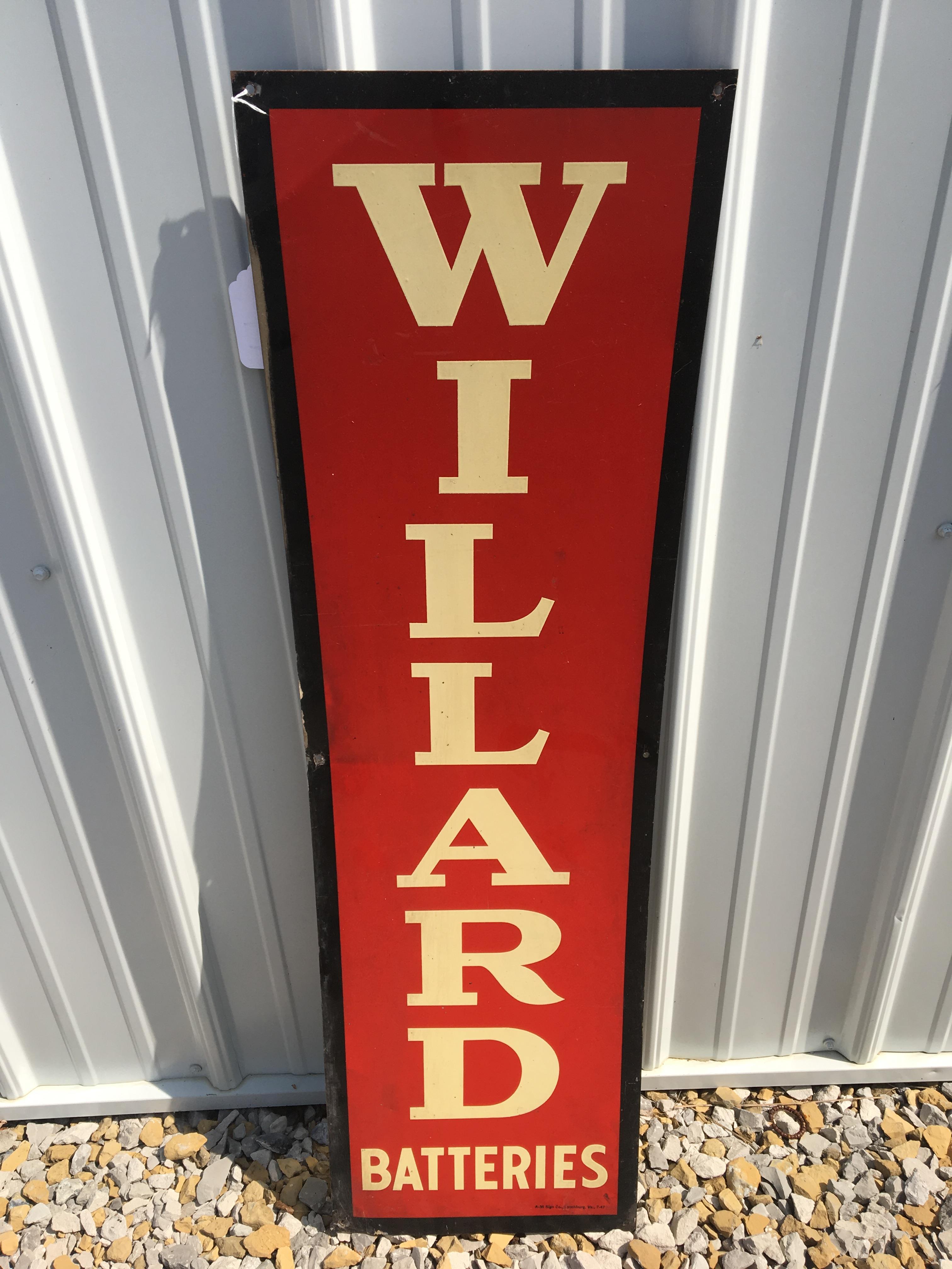 "Lot 14 - Willand Batteries, 11 ½"" x 39 ½"", Metal Sign – A-M Sign Co. Lynchburg, VA. (7-47)"