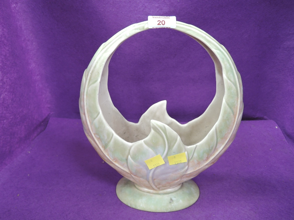 Lot 20 - A vintage leaf form circular vase by Beswick