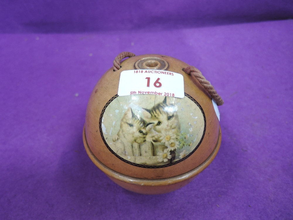 Lot 16 - A vintage mauchline ware wool dispenser with kitten and cat imagery