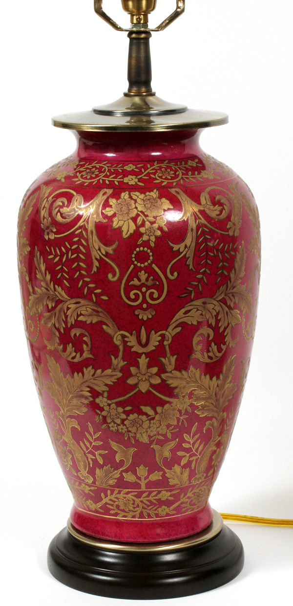 CHINESE RED PORCELAIN URN NOW TABLE LAMP H 30 Red