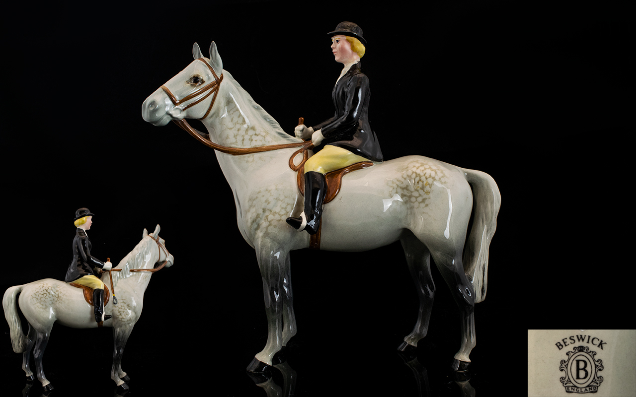 Lot 538 - Beswick Seated Rider and Horse Figure '
