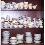A large collection of English and Continental cabinet cups and saucers, various