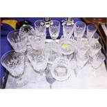 Four Waterford cut glass brandy balloons and other cut glass table glass