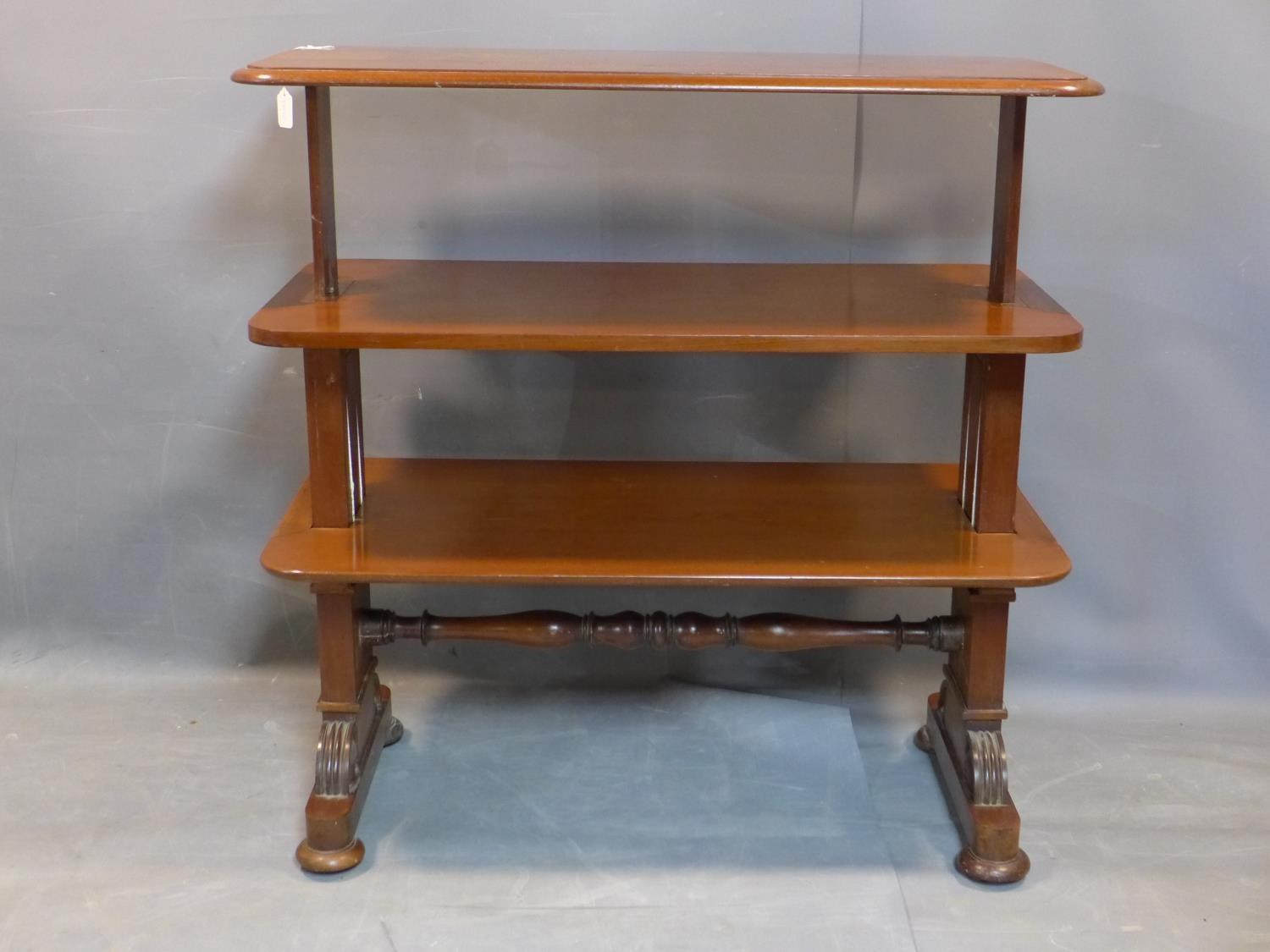 A 19th century mahogany three tier metamorphic buffet, on carved supports joined by turned - Image 4 of 4