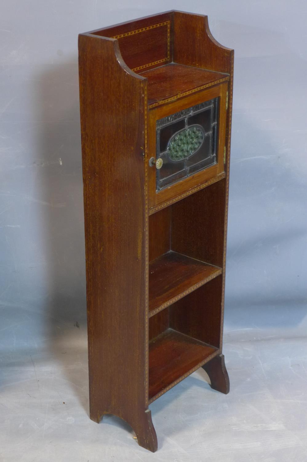 A small Arts and Crafts mahogany and inlaid narrow side cabinet, with single leaded glass door above - Image 2 of 2
