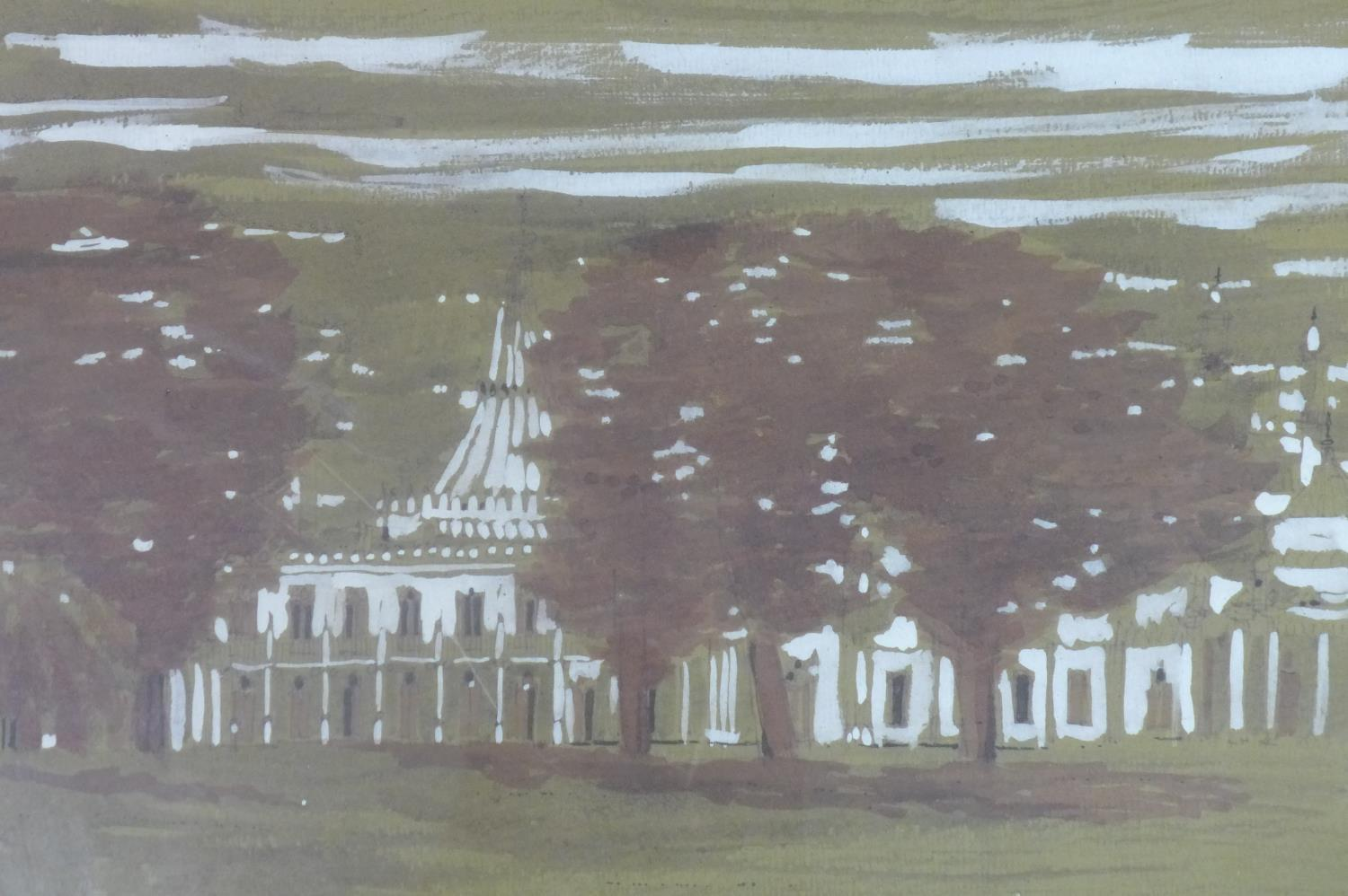 Lot 302 - Talbot Hicks, three paintings to include a watercolour possibly of Brighton Pavilion, 31 x 47cm;