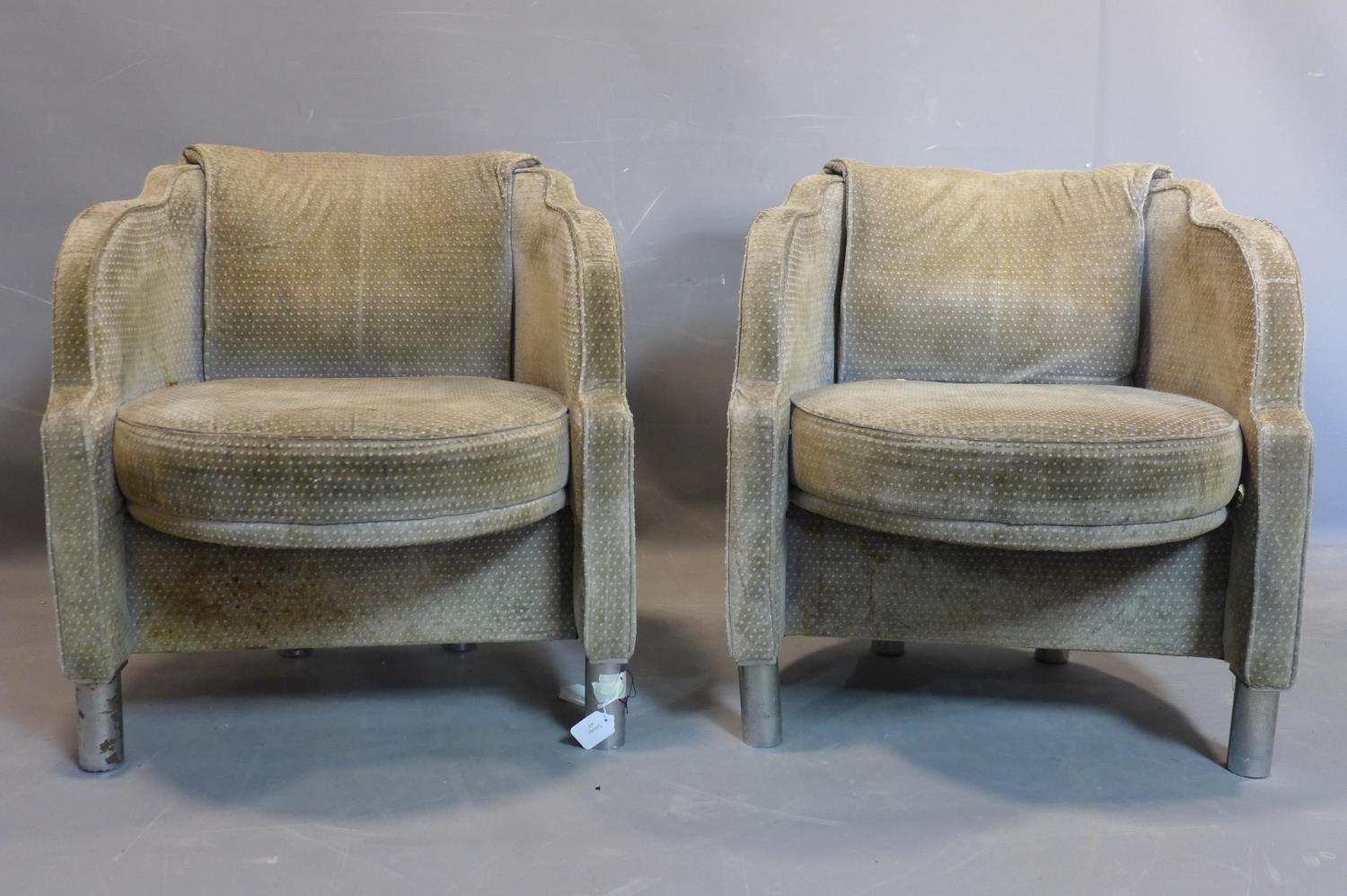 Lot 27 - Two Art Deco tub chairs, on cylindrical metal legs, staining to upholstery, H.72cm