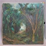 British school 20th century, a path in the forest, oil on canvas, signed, 35 x 35 cm