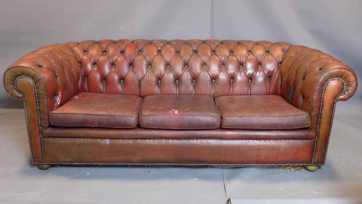 A three seater leather Chesterfield sofa, with button back upholstery, heavily worn