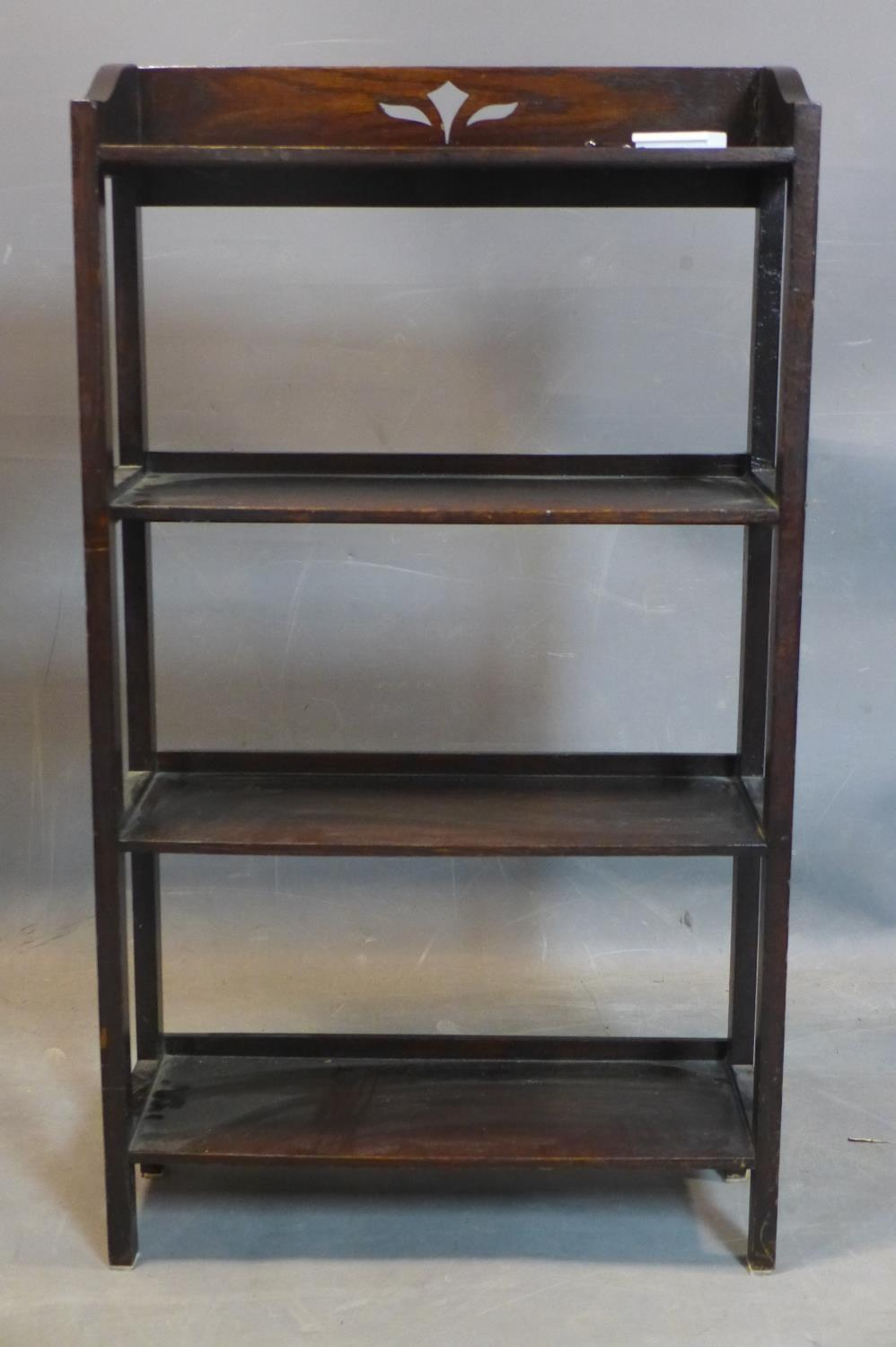 Lot 252 - A stained oak open bookcase, on square legs, H.100 D.56 D.20cm
