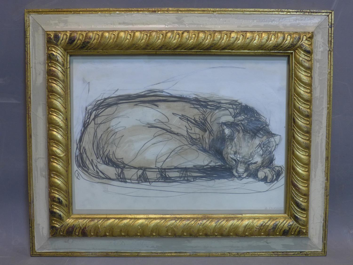 Contemporary British draughtsman, sleeping cat, pencil and watercolour, signed and dated 'G. - Image 2 of 3
