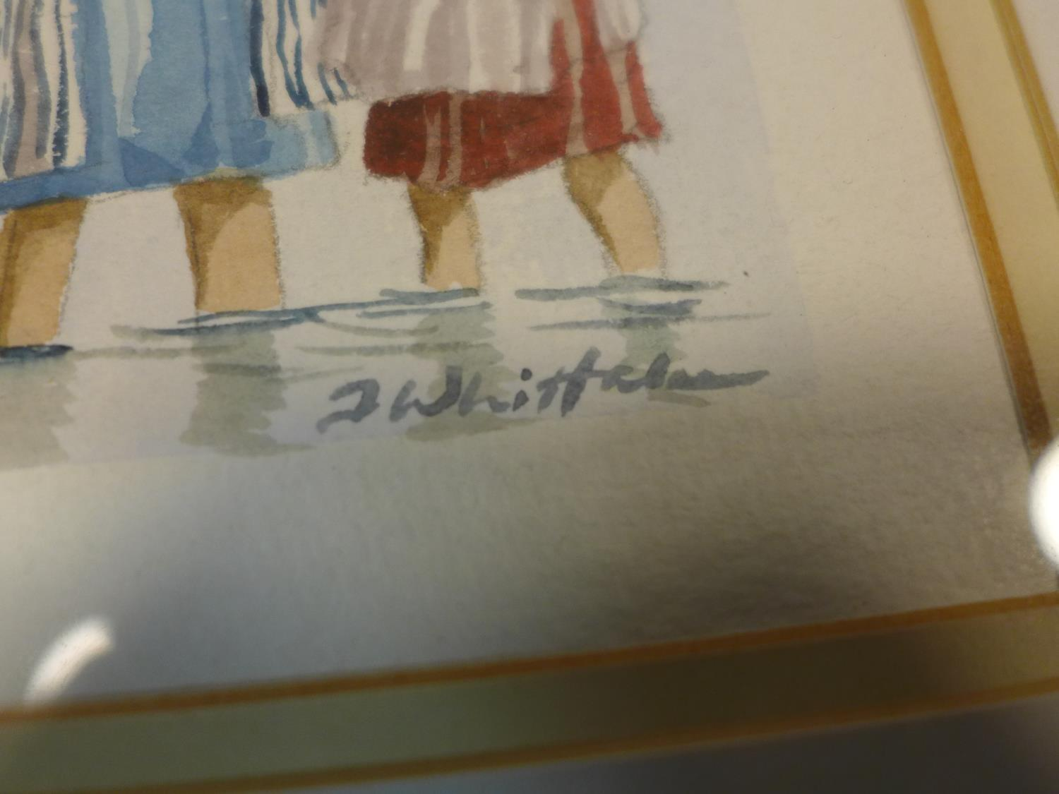 Lot 192 - J. Michael Whittaker, two watercolours of children at the beach, signed lower right, each in
