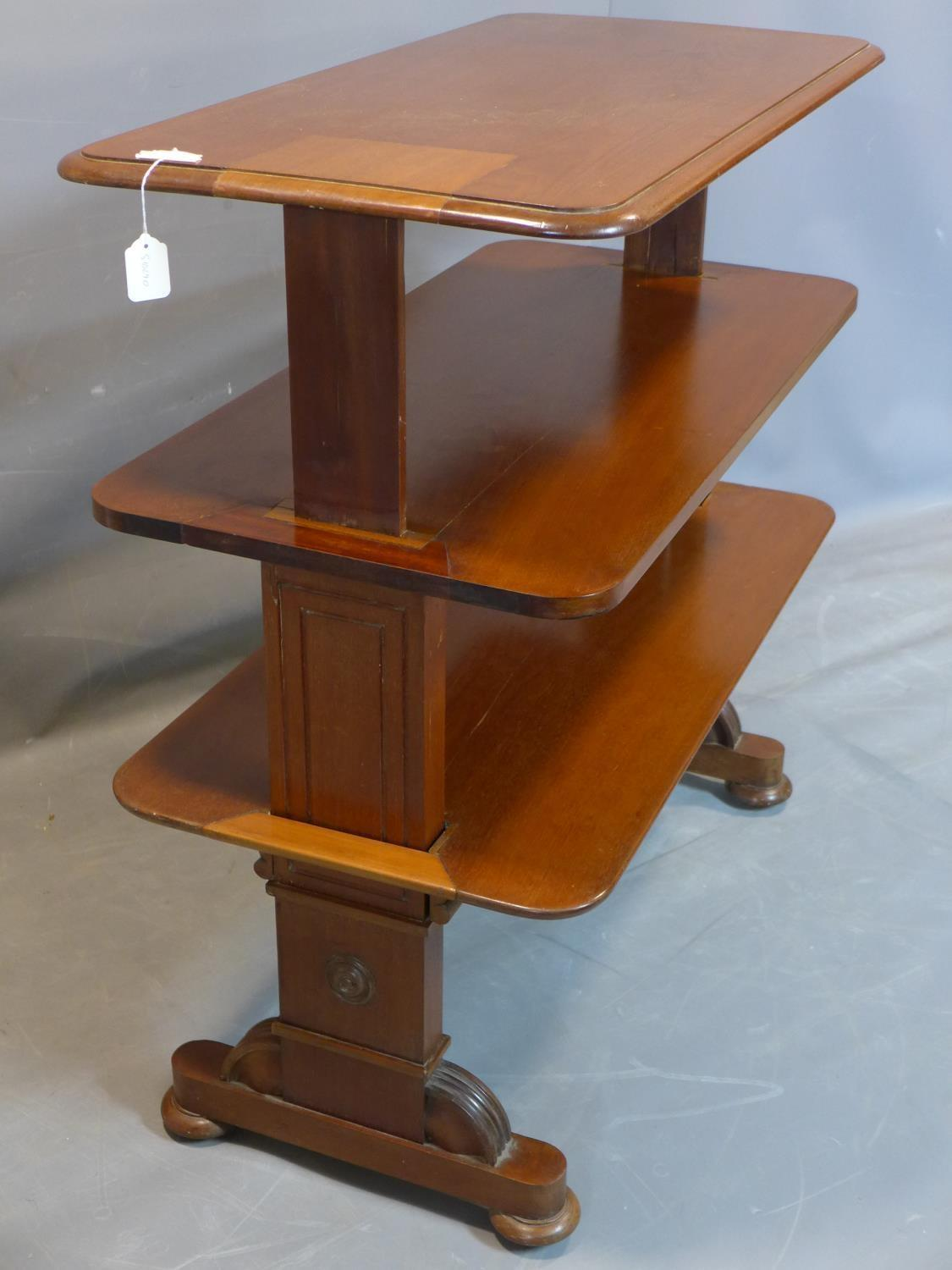 A 19th century mahogany three tier metamorphic buffet, on carved supports joined by turned - Image 3 of 4