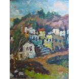 British school 20th century, View of a town, oil on canvas, signed, 52 x 47 cm