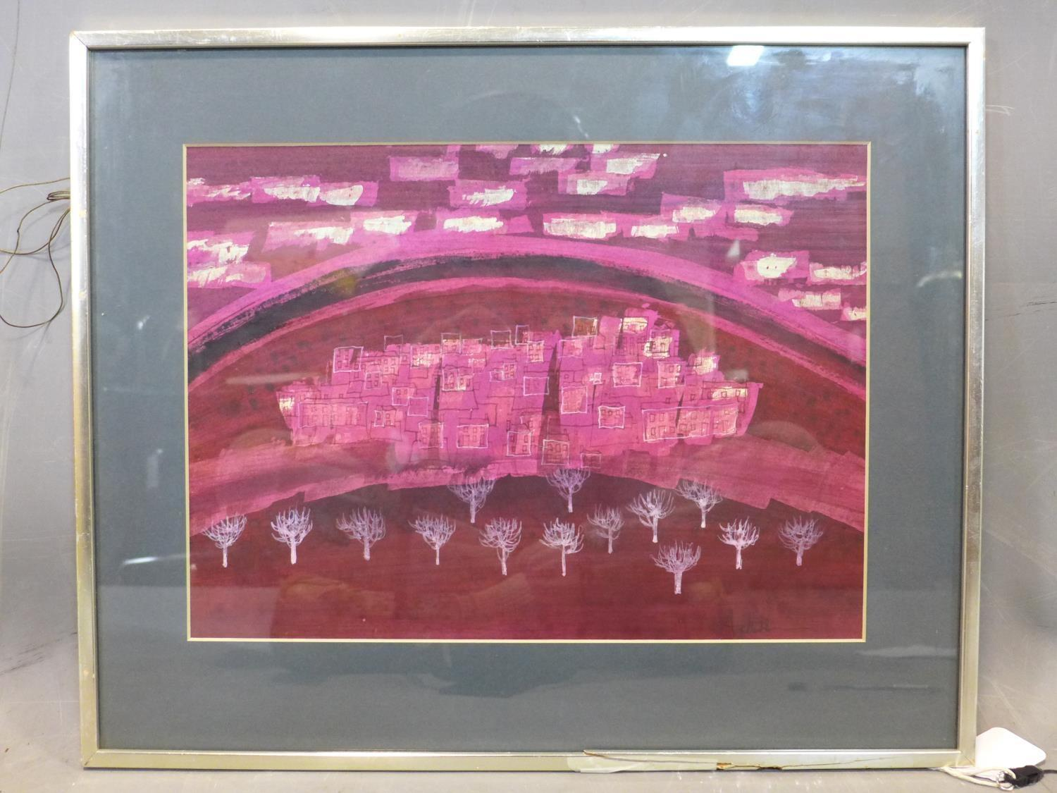 Lot 301 - Talbot Hicks, abstract painting of a town with trees to foreground, in deep pinks, paler pinks and