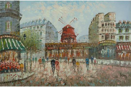 An oil on board of a Paris street scene featuring the Moulin