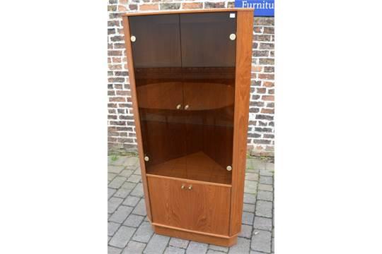 Turnidge Of London Teak Retro Corner Display Cabinet With Smoke