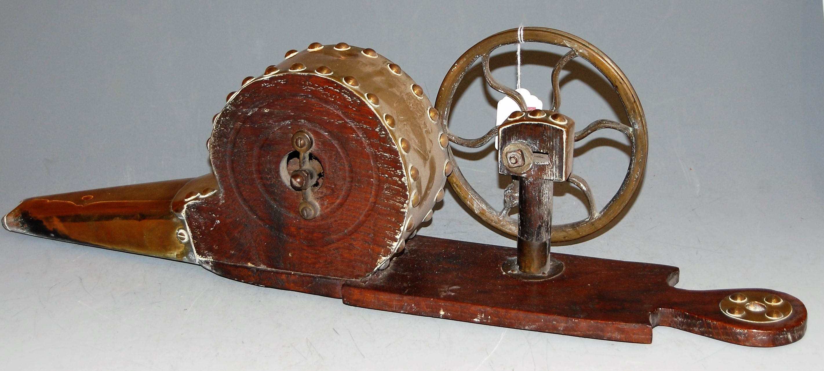Lot 44 - A set of 19th century oak and studded brass wheel bellows, w.60cm