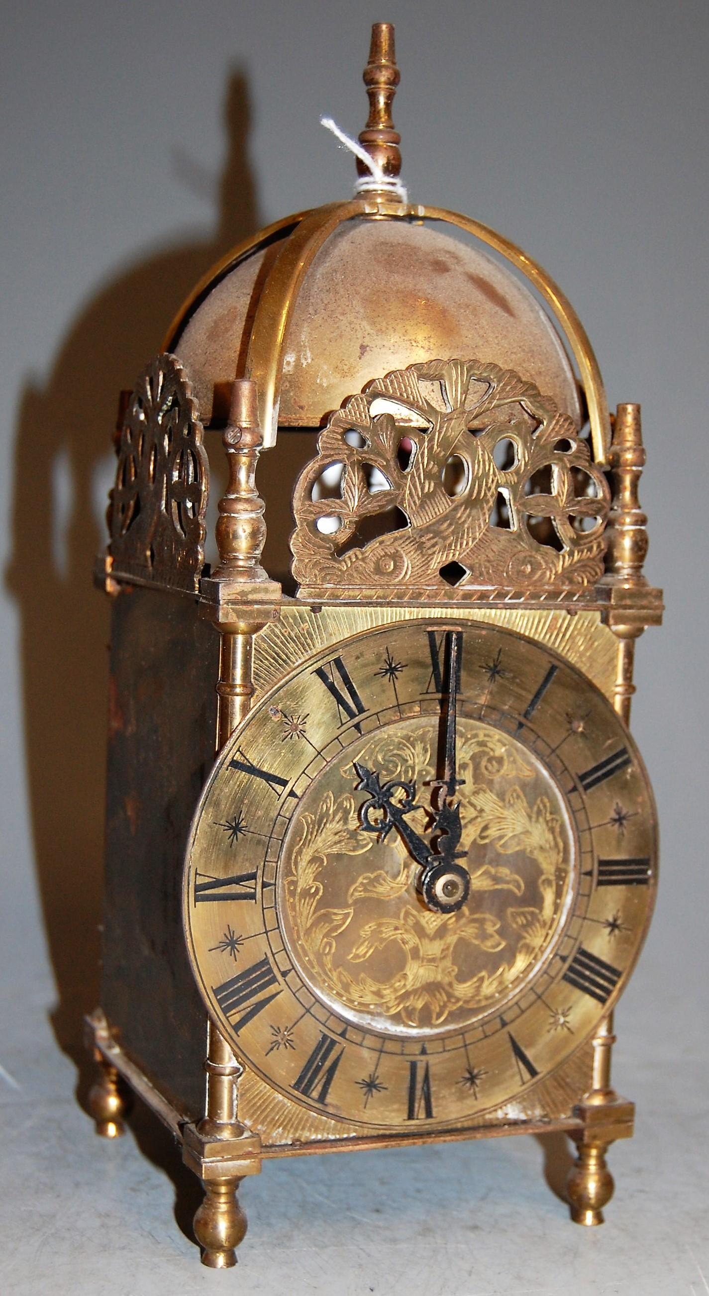 Lot 43 - A brass lantern clock in the 17th century style, h.26cm