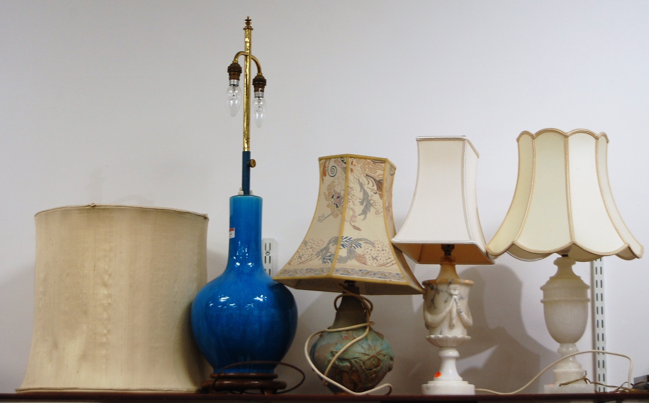 Lot 34 - In the manner of Bernard Rooke - a studio pottery lamp base and shade; together with a large