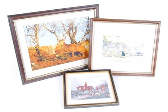Three framed and glazed prints: Red Stag; Fox Hunting and Shooting ...