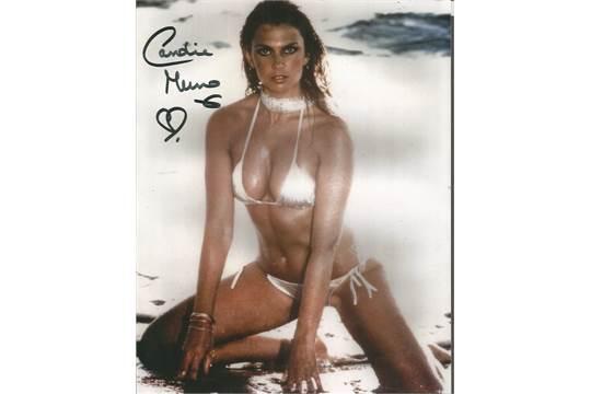 Caroline Munro Signed Sexy Swim Suit 10x8 Colour Photo
