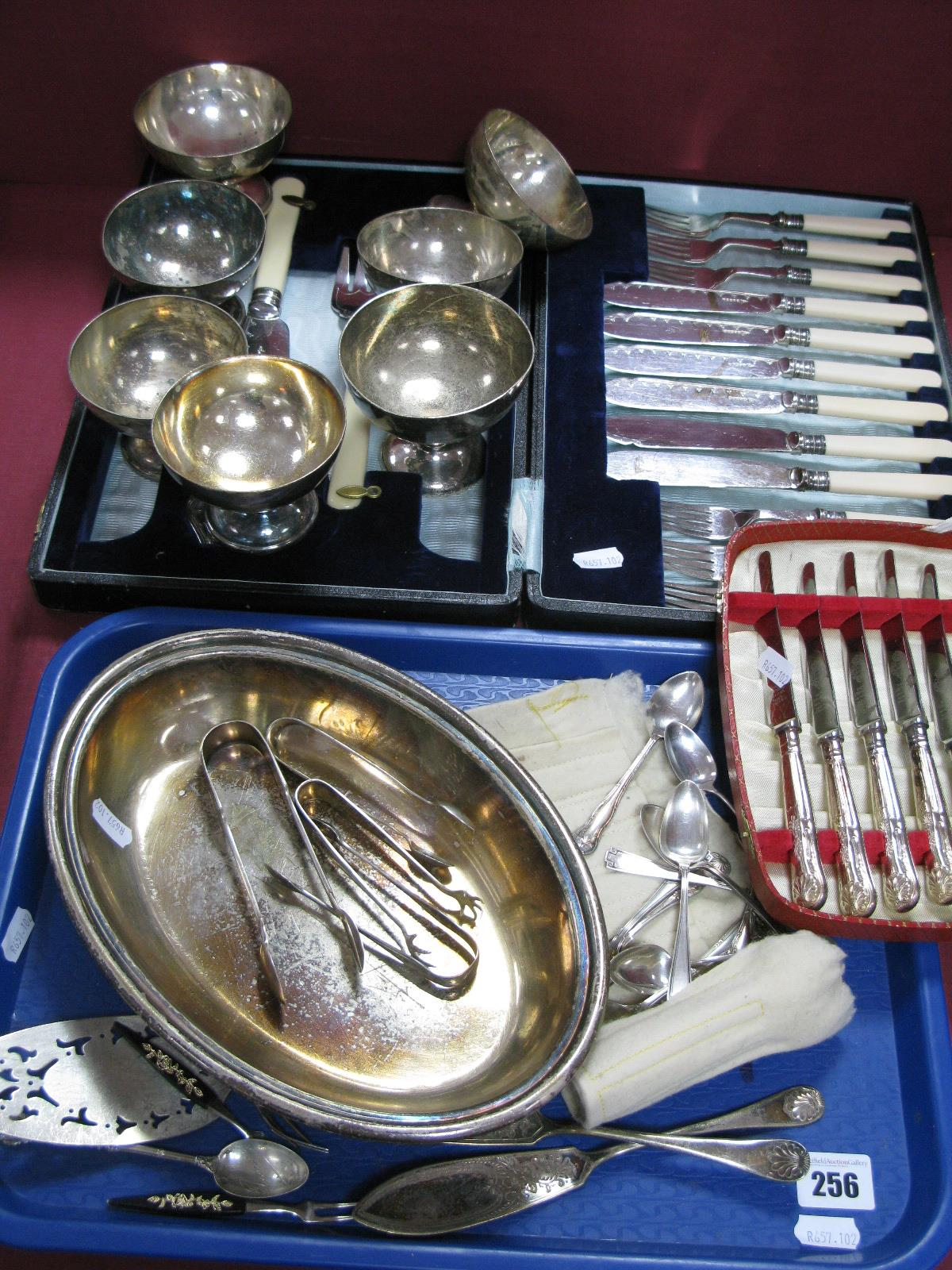 """Lot 256 - Tea/Coffee Spoons, (including """"Sterling""""), cased cutlery, sundae dishes, sugar tongs, etc."""