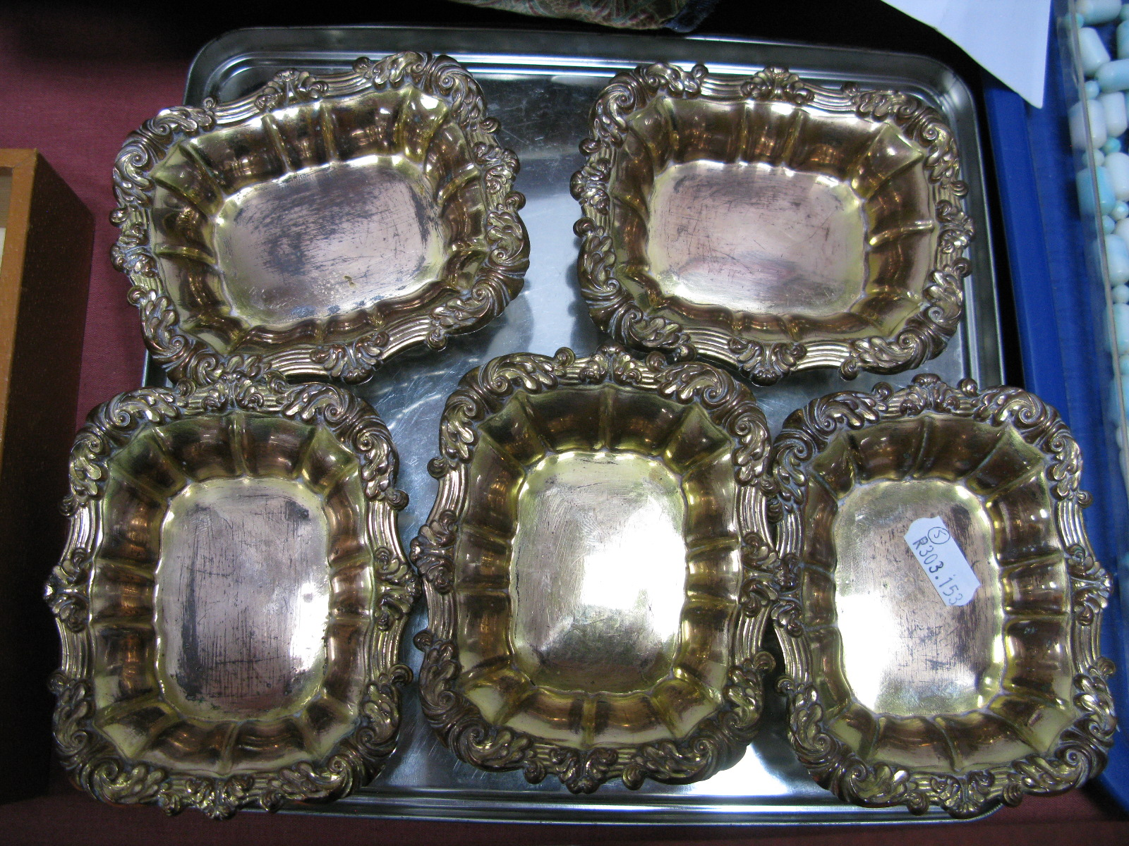 Lot 327 - A Set of Five XIX Century Plated on Copper Salts, each of shaped rectangular form with shell and