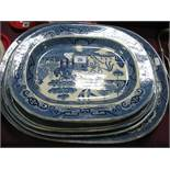 Six Blue and White Willow Pattern Pottery Meat Plates.