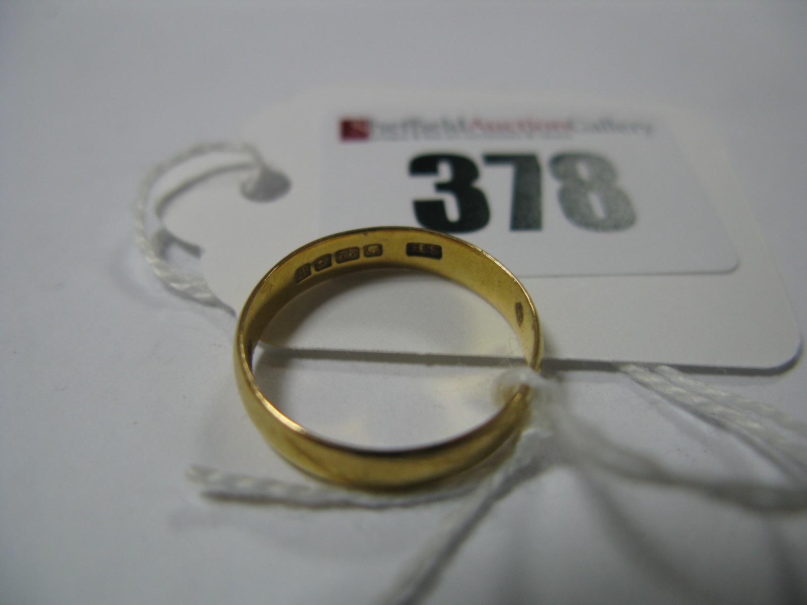 Lot 378 - A 22ct Gold Plain Wedding Band Ring.