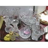 Autumn Leaves Smoky Glass Vase, basket, candle sticks, oil bottles etc:- One Tray